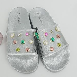 NWT Clear Embellished Slides